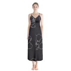 Rose Wild Seamless Pattern Flower Chiffon Maxi Dress