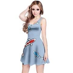 Koi Carp East Vector Seamless Reversible Sleeveless Dress