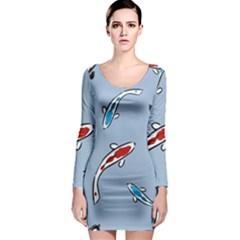 Koi Carp East Vector Seamless Long Sleeve Bodycon Dress