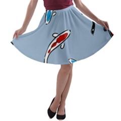 Koi Carp East Vector Seamless A Line Skater Skirt