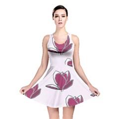 Magnolia Seamless Pattern Flower Reversible Skater Dress