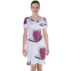 Magnolia Seamless Pattern Flower Short Sleeve Nightdress