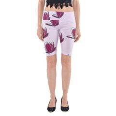 Magnolia Seamless Pattern Flower Yoga Cropped Leggings