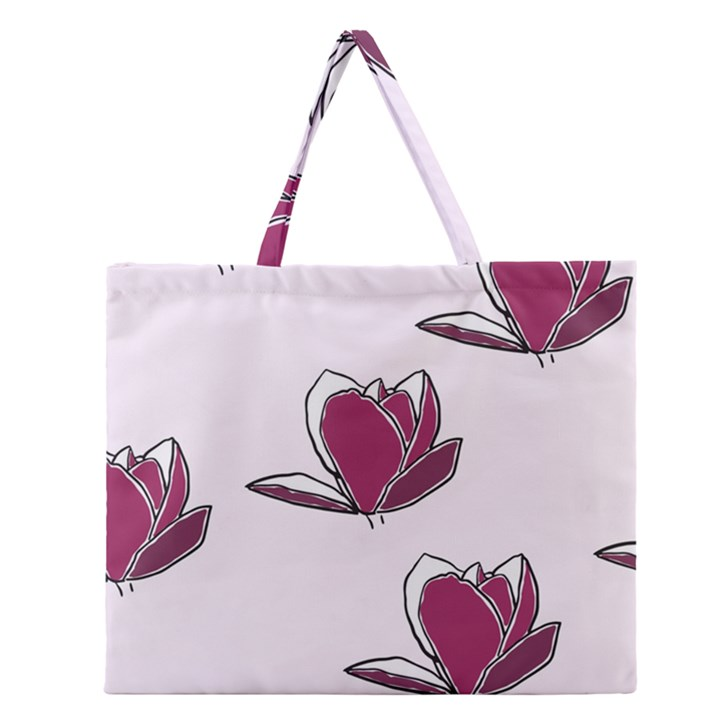 Magnolia Seamless Pattern Flower Zipper Large Tote Bag