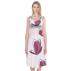 Magnolia Seamless Pattern Flower Midi Sleeveless Dress