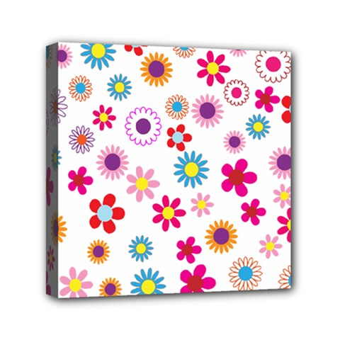 Floral Flowers Background Pattern Mini Canvas 6  X 6