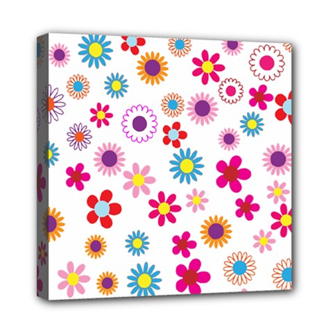 Floral Flowers Background Pattern Mini Canvas 8  X 8