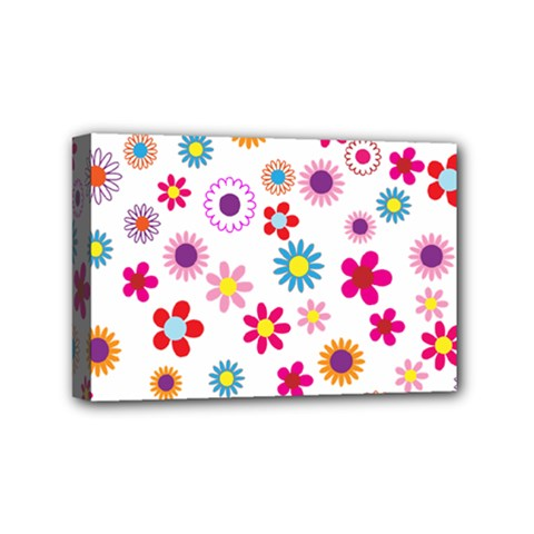 Floral Flowers Background Pattern Mini Canvas 6  X 4