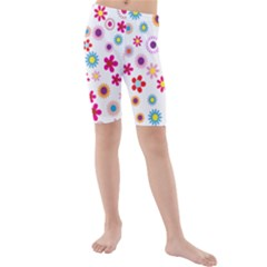 Floral Flowers Background Pattern Kids  Mid Length Swim Shorts