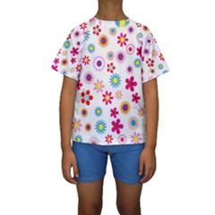 Floral Flowers Background Pattern Kids  Short Sleeve Swimwear