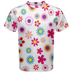 Floral Flowers Background Pattern Men s Cotton Tee