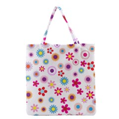 Floral Flowers Background Pattern Grocery Tote Bag