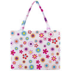 Floral Flowers Background Pattern Mini Tote Bag