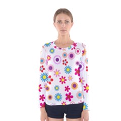 Floral Flowers Background Pattern Women s Long Sleeve Tee