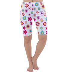 Floral Flowers Background Pattern Cropped Leggings