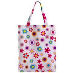 Floral Flowers Background Pattern Zipper Classic Tote Bag
