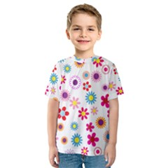 Floral Flowers Background Pattern Kids  Sport Mesh Tee