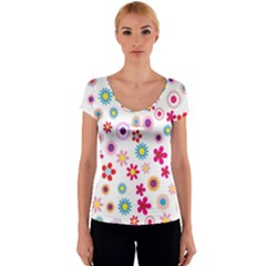 Floral Flowers Background Pattern Women s V-Neck Cap Sleeve Top