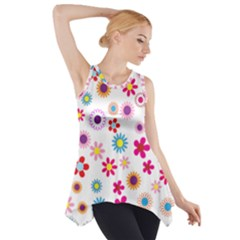 Floral Flowers Background Pattern Side Drop Tank Tunic