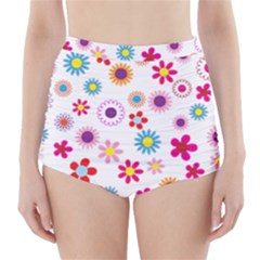Floral Flowers Background Pattern High Waisted Bikini Bottoms