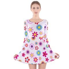 Floral Flowers Background Pattern Long Sleeve Velvet Skater Dress