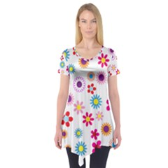 Floral Flowers Background Pattern Short Sleeve Tunic