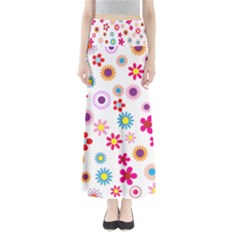 Floral Flowers Background Pattern Maxi Skirts