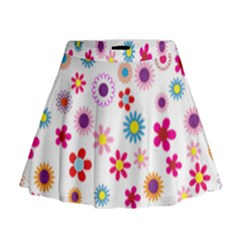 Floral Flowers Background Pattern Mini Flare Skirt
