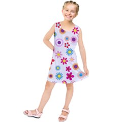 Floral Flowers Background Pattern Kids  Tunic Dress