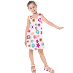 Floral Flowers Background Pattern Kids  Sleeveless Dress