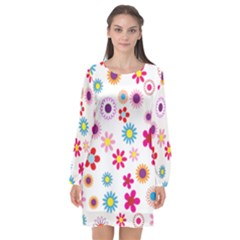 Floral Flowers Background Pattern Long Sleeve Chiffon Shift Dress