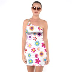 Floral Flowers Background Pattern One Soulder Bodycon Dress