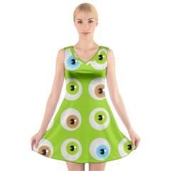 Eyes Background Structure Endless V Neck Sleeveless Skater Dress
