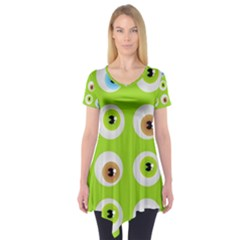 Eyes Background Structure Endless Short Sleeve Tunic