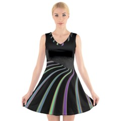 Graphic Design Graphic Design V Neck Sleeveless Skater Dress