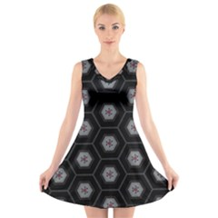 Mandala Calming Coloring Page V Neck Sleeveless Skater Dress