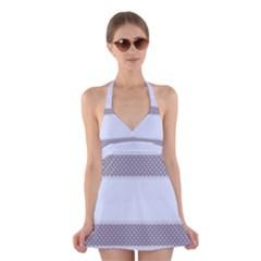 Blue Modern Halter Swimsuit Dress