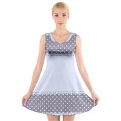 Blue Modern V-Neck Sleeveless Skater Dress