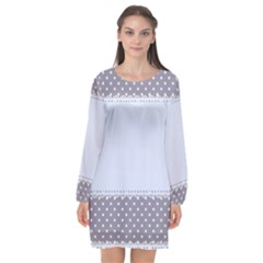 Blue Modern Long Sleeve Chiffon Shift Dress