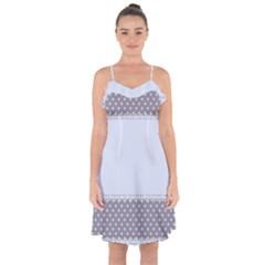Blue Modern Ruffle Detail Chiffon Dress