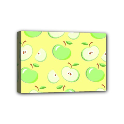Apples Apple Pattern Vector Green Mini Canvas 6  x 4