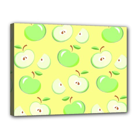 Apples Apple Pattern Vector Green Canvas 16  x 12