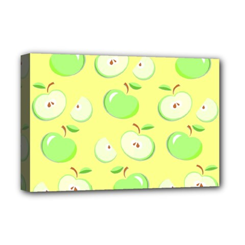 Apples Apple Pattern Vector Green Deluxe Canvas 18  X 12