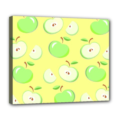 Apples Apple Pattern Vector Green Deluxe Canvas 24  x 20