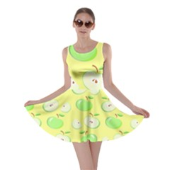 Apples Apple Pattern Vector Green Skater Dress