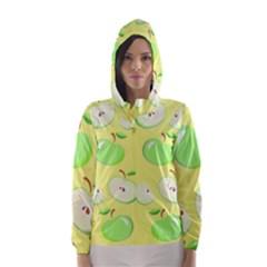 Apples Apple Pattern Vector Green Hooded Wind Breaker (women)