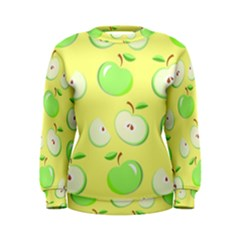 Apples Apple Pattern Vector Green Women s Sweatshirt