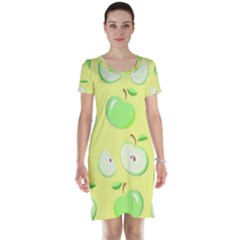 Apples Apple Pattern Vector Green Short Sleeve Nightdress