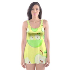 Apples Apple Pattern Vector Green Skater Dress Swimsuit