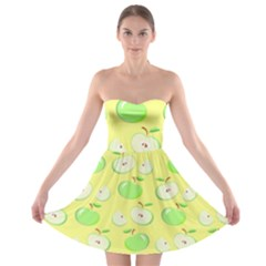 Apples Apple Pattern Vector Green Strapless Bra Top Dress